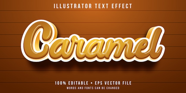 Editable text effect - caramel letters style