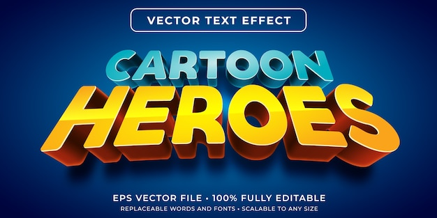 Editable text effect in cartoon hero text style