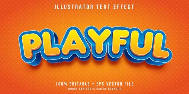 Editable text effect - cartoon round text style