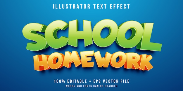 Editable text effect - cartoon school text style
