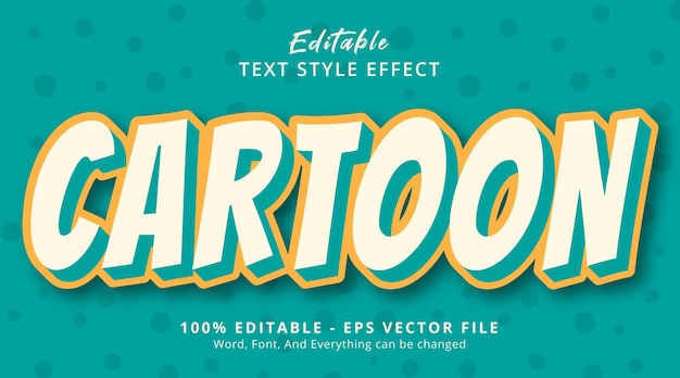 Editable text effect, cartoon text on simply color style effect