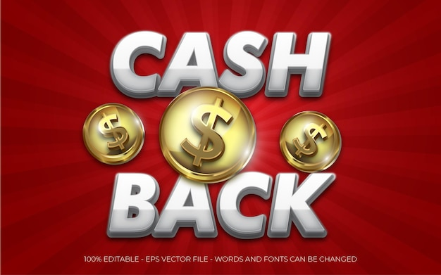Editable text effect cash back with coin dollar icon style illustrations