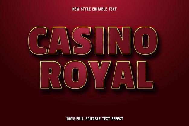 Editable text effect casino royal color red gold and black