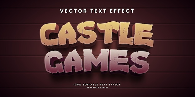 Editable text effect in castle games tyle premium vector