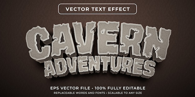 Editable text effect in cavern stone style