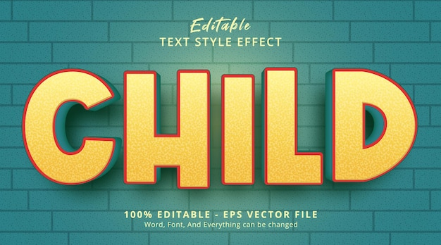 Editable text effect, child text on fancy color style effect