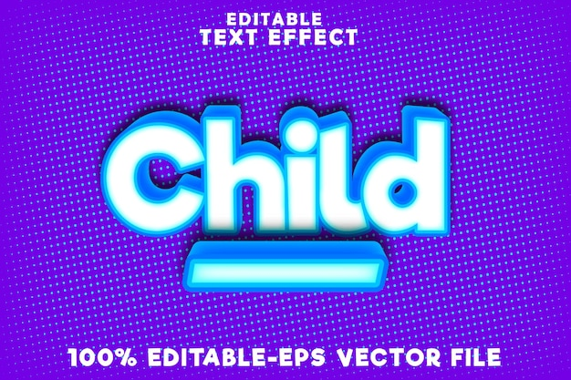 Editable text effect child with new comic modern style