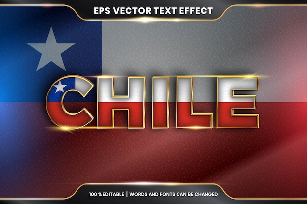 Editable text effect - chile with its national country flag