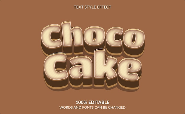Editable text effect, choco cake text style