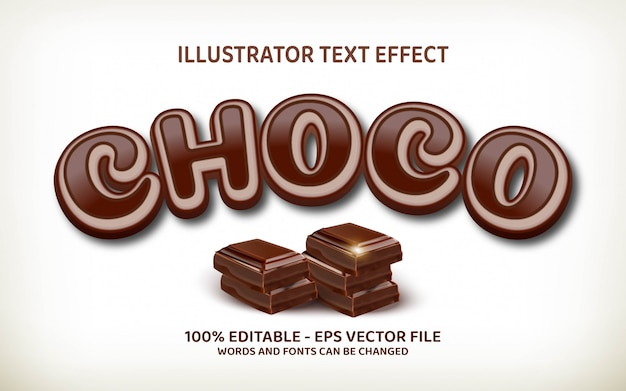 Editable text effect, choco style illustrations