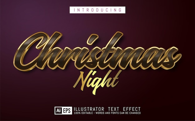 Editable text effect christmas night golden style suitable for christmas banner and poster