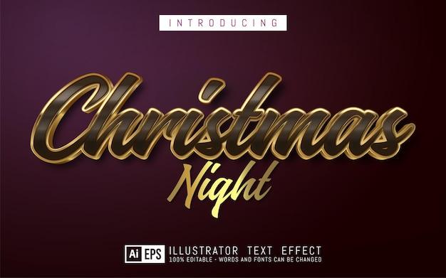 Редактируемый текстовый эффект рождественская ночь в золотом стиле, подходящий для рождественского баннера и плаката