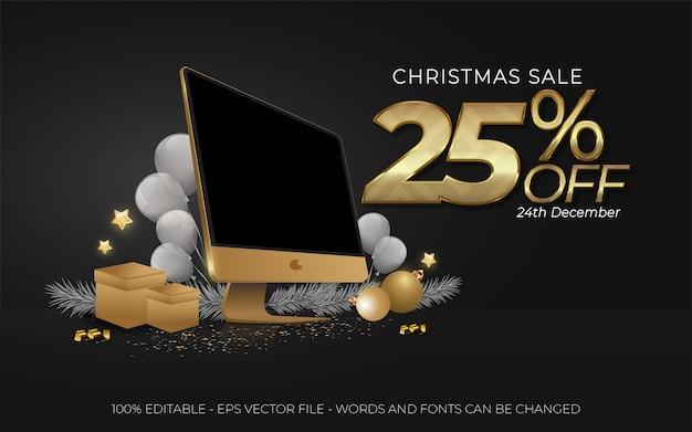 Редактируемый текстовый эффект, рождественская распродажа со скидкой 25% на иллюстрации стиля