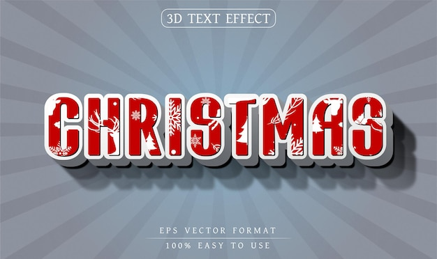 Editable text effect christmas text style