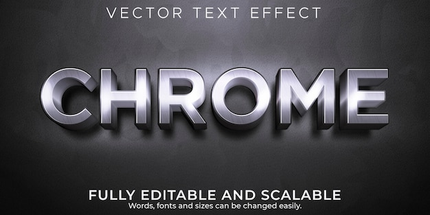 Editable text effect, chrome metallic  text style