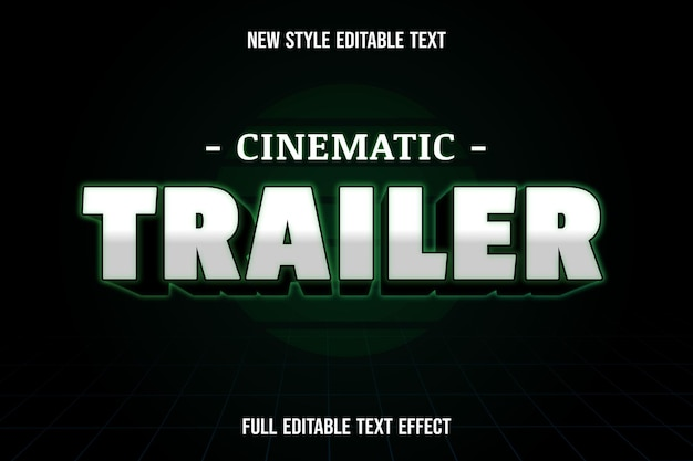 Editable text effect cinematic trailer color white black and green