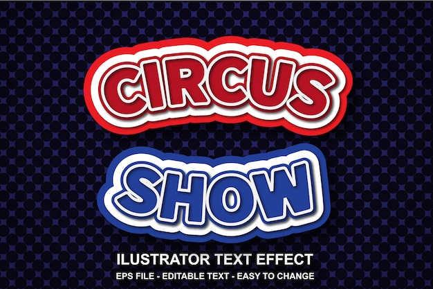 Editable text effect circus show style
