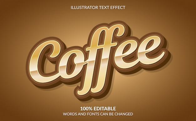 Редактируемый текстовый эффект, классический коричневый текстовый стиль кофе