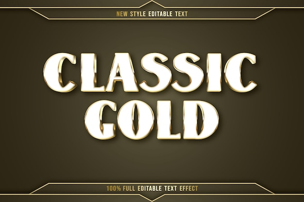 Editable text effect classic gold color white and gold