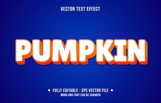 Editable text effect clean orange pumpkin style