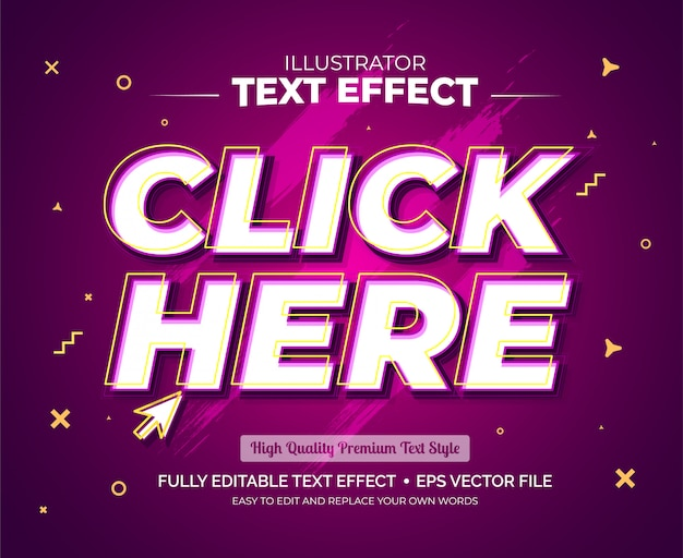 Editable text effect - click here text effect