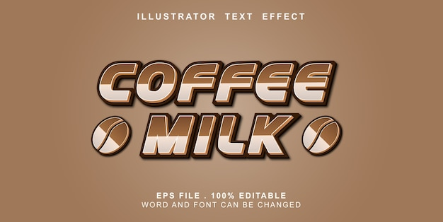 Редактируемый текстовый эффект кофе с молоком