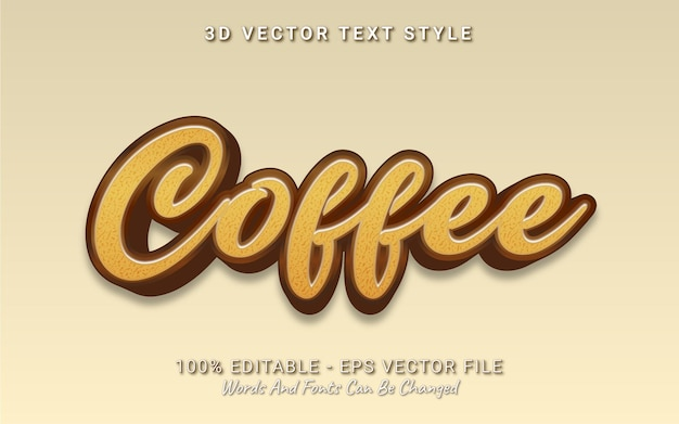 Editable text effect coffee 3d style