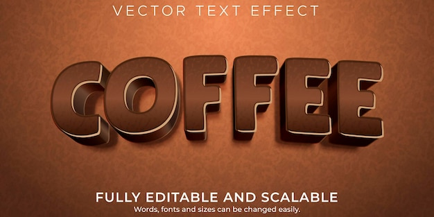 Editable text effect, coffee and brown text style