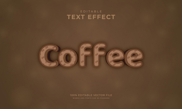 편집 가능한 텍스트 효과 커피 색상 텍스트 스타일