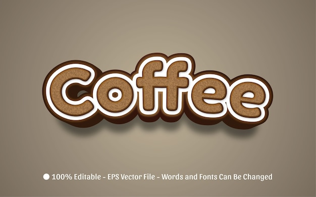 Редактируемый текстовый эффект иллюстрации в стиле кофе