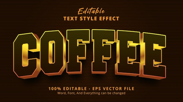 Editable text effect, coffee text on headline logo style effect