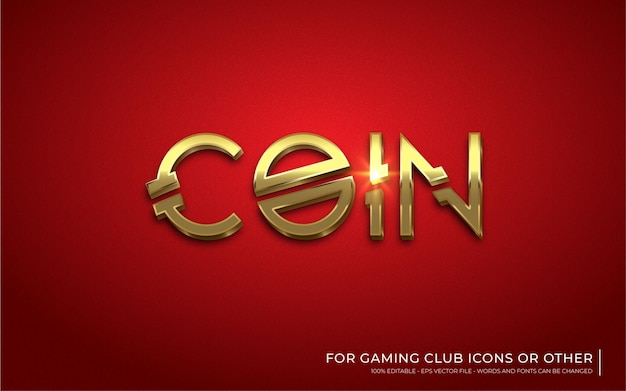 Editable text effect, coin gold style