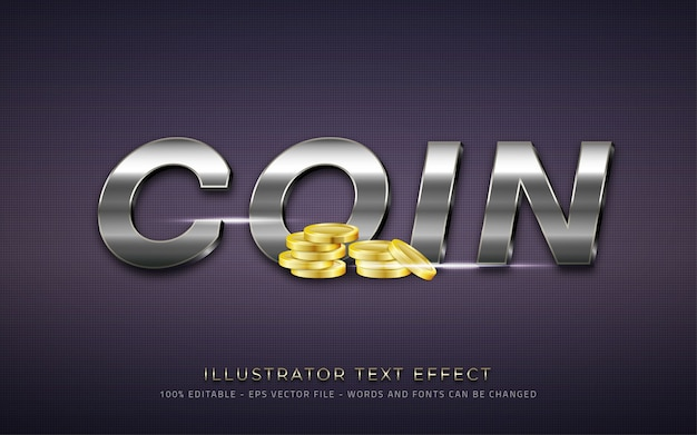 Editable text effect coin style