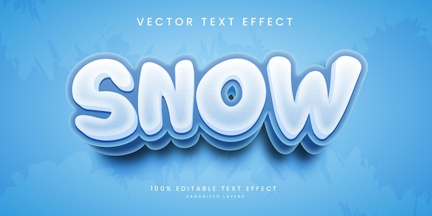 Editable text effect in cold weather snow style