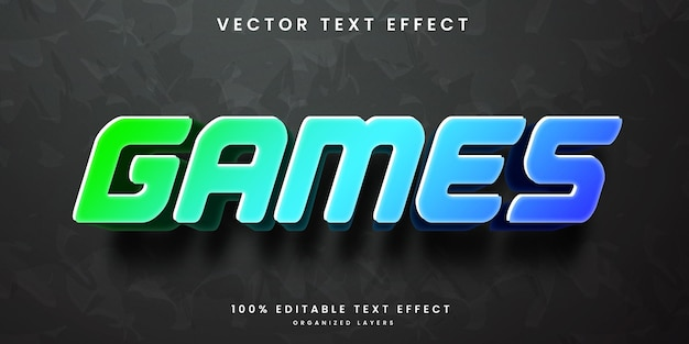 Editable text effect in colorful games style premium vector