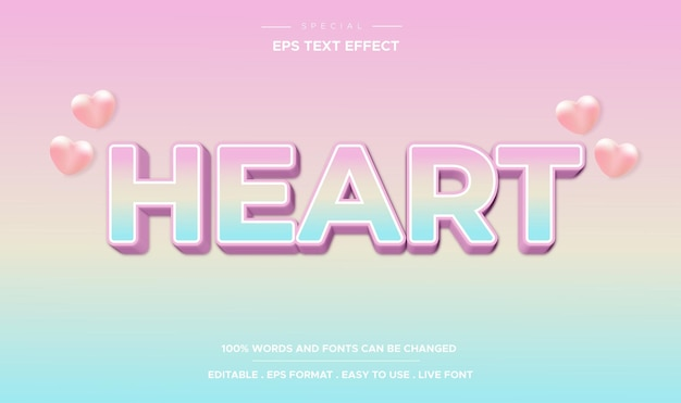 Editable text effect, colorful heart text style