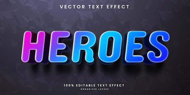 Editable text effect in colorful heroes style premium vector