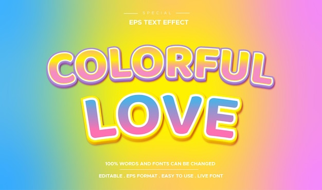 Editable text effect colorful love style