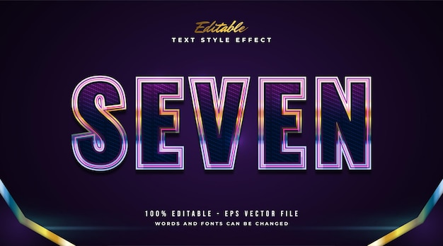 Editable text effect in colorful neon style with modern and futuristic concept