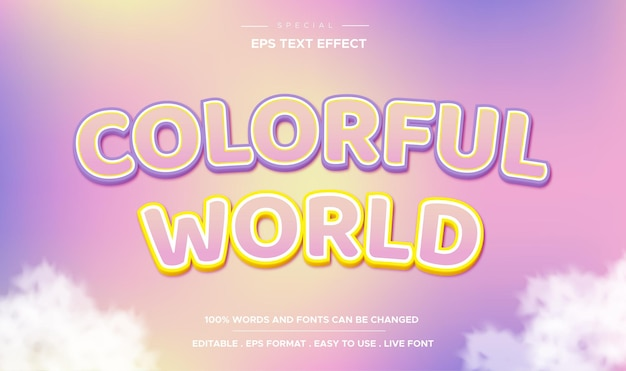 Editable text effect colorful world style