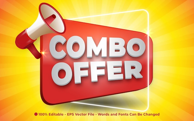Editable text effect combo offer with megaphone banner style illustrations