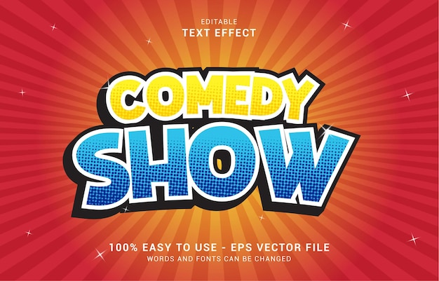Editable text effect, comedy show style can be use to make title