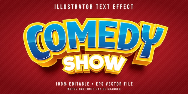 Editable text effect - comedy show title style