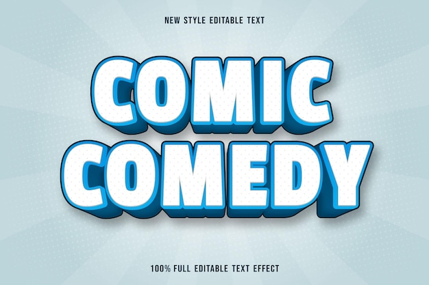 Editable text effect comic comedy in white and blue