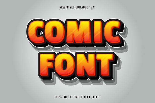 Editable text effect comic font color orange and black