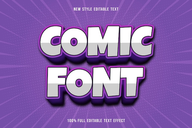 Editable text effect comic font color white and purple