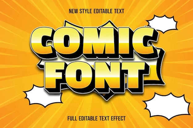 Editable text effect comic font color yellow and black