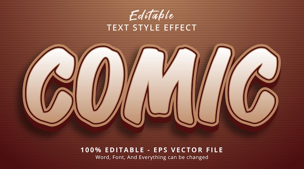 Editable text effect, comic text on brown layered style effect