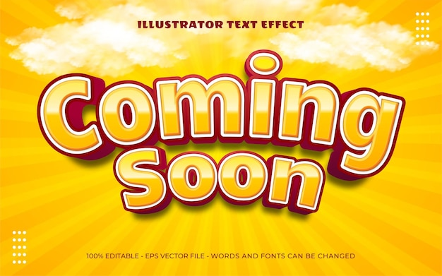 Editable text effect, coming soon style illustrations