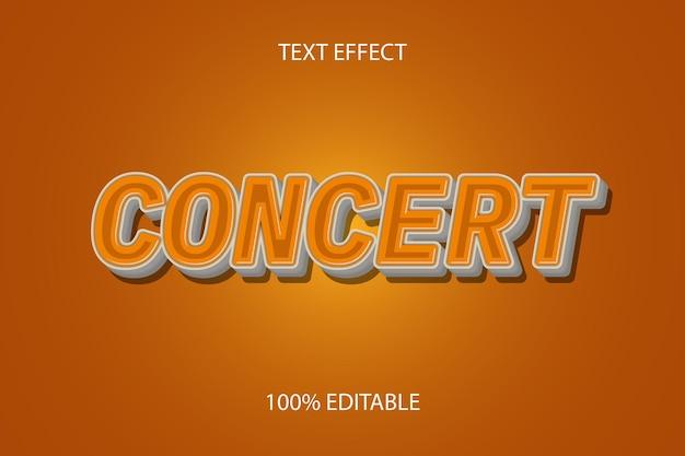 Редактируемый текстовый эффект концертный цвет оранжевый